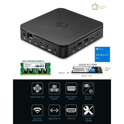 Pepper Jobs GLK-UC2X 8GB/64GB M.2 250GB SSD  Intel® Celeron N4100 Gemini Lake Mini PC Windows 10 Pro