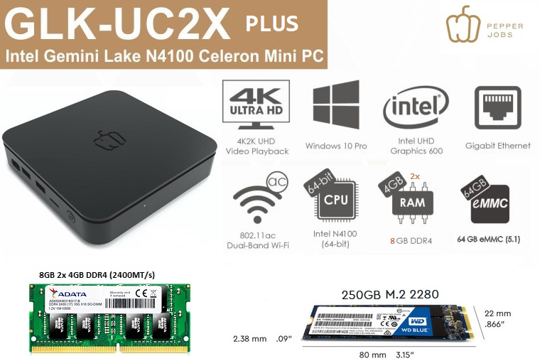 PEPPER JOBS GLK-UC2X 8GB/64GB/250GB Windows 10 PROmini pc