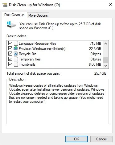 Disk Clean UP Windows na update 1809