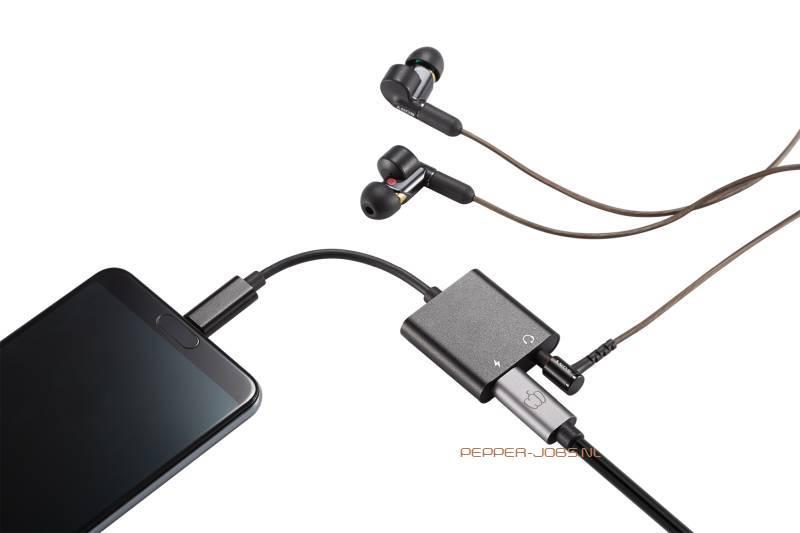 Pepper Jobs C2H18M USB-C to 4K@60Hz HDMI en Pepper Jobs C2PDA USB-C to 3.5mm Audio Adapter met PowerDelivery (PD) charging