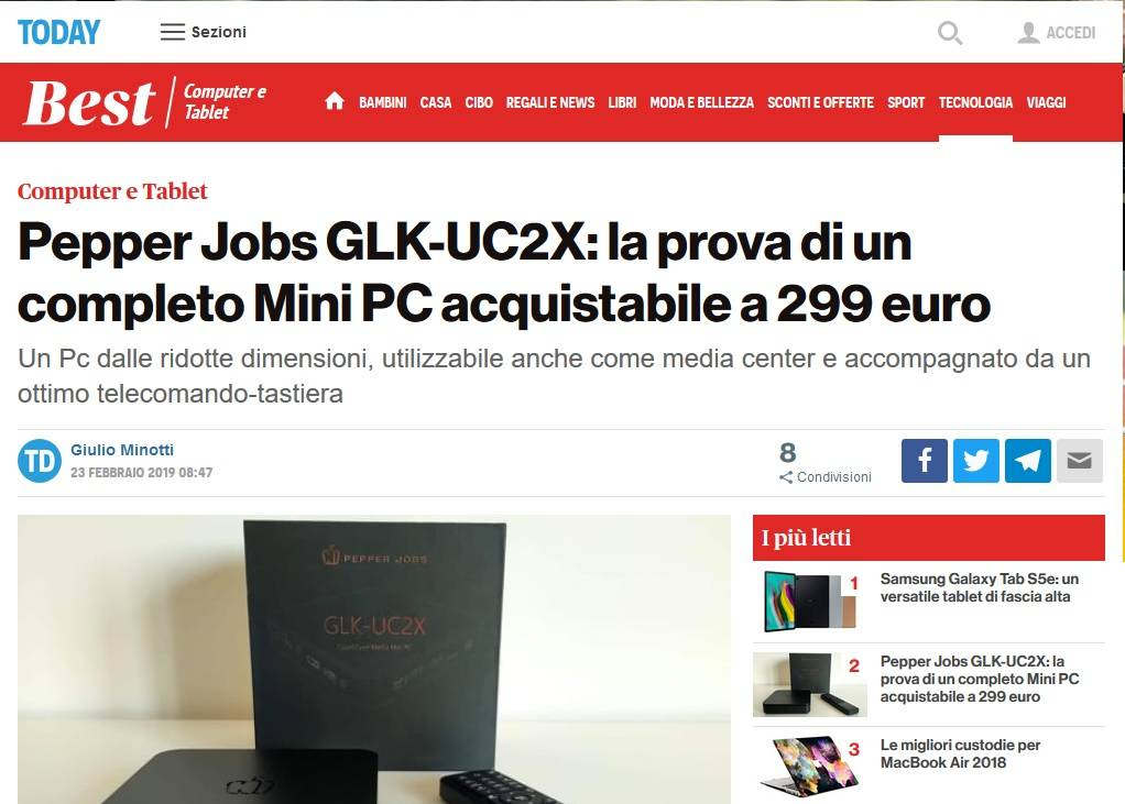 Review of Italian online magazine TODAY.IT about the Pepper Jobs GLK-UC2X mini pc and W10 GYRO remote