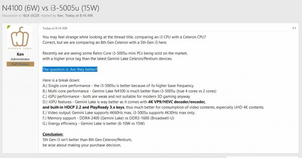 Pepper Jobs GLK-UC2X N4100 (6W) vs i3-5005u (15W)