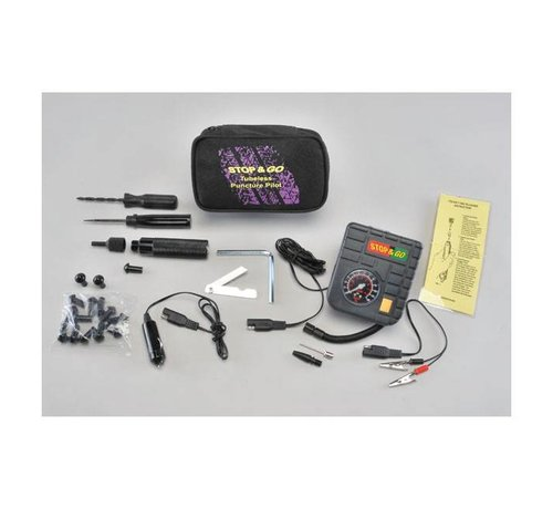 Motorcycle Storehouse Stop & Go Tubeless repair kit + Mini luchtcompressor - ALL IN ONE