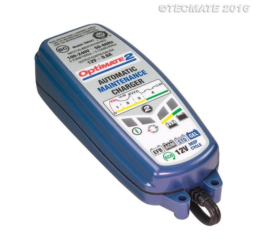 OptiMate 2 / 4-staps 12 V- 0,8 A-acculader-onderhouder