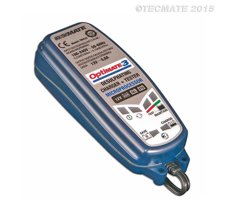 OptiMate 3 / 7-staps 12 V 0,8 A accubesparende lader, tester en onderhouder