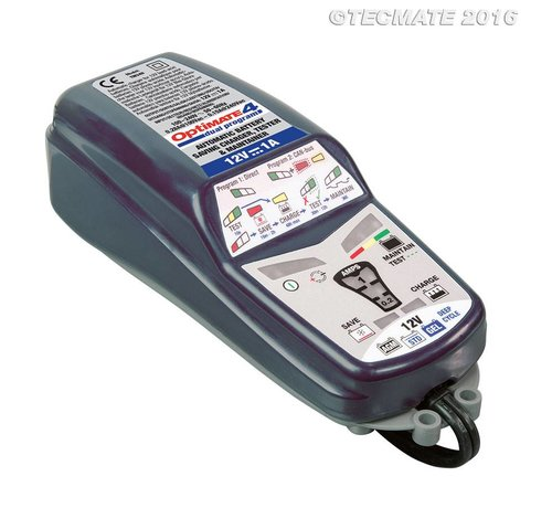 OptiMate OptiMate 4 Dual Program / 9-staps 12V 1A accubesparende lader, tester en onderhouder
