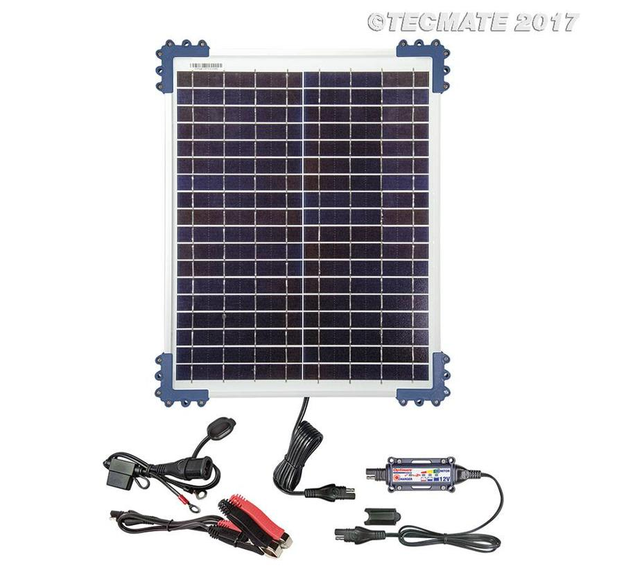 OptiMate SOLAR 20W 12V Kit / Solar Pulse Charger, Tester & Maintainer for 12V batteries, with 20W solar panel