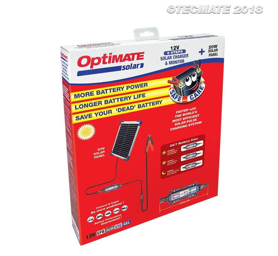 OptiMate SOLAR 20W 12V Kit / Solar Pulse Charger, Tester & Maintainer for 12V batteries, with 20W solar panel