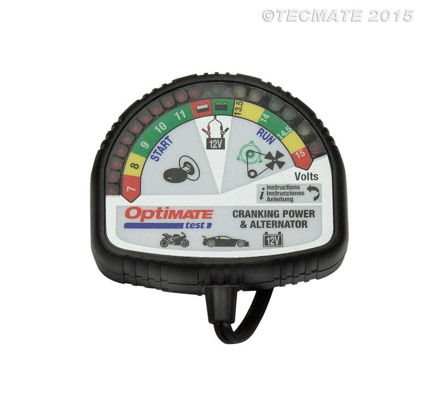 OptiMate TEST – Batterij, laadsysteem & alternator tester / 12 V-tester voor accustatus laden, startprestaties en voertuiglaadsysteem.