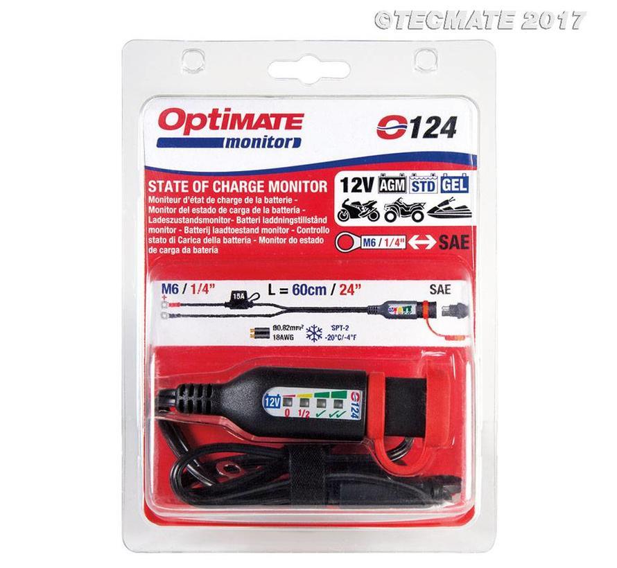 OptiMate MONITOR O-124 / Permanente accukabel met geïntegreerde accustatus, laadcontrole voor 12 V-loodzuuraccu's.