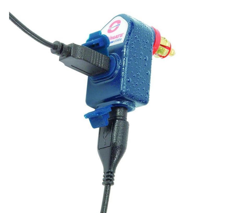 OptiMate USB O-105 / 3300mA dual output weatherproof USB charger, with BIKE plug .