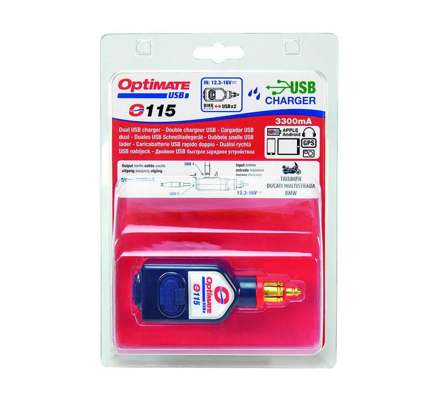 OptiMate USB O-115 / 3300mA dual output weatherproof USB charger, with BIKE plug