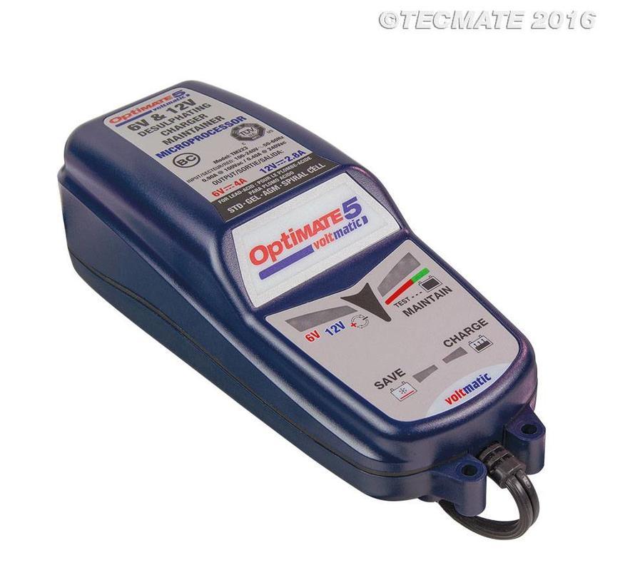 OptiMate 5 VoltMatic / 8 fase 4A, 2.8A Accu reddende Lader-Tester-Onderhoud