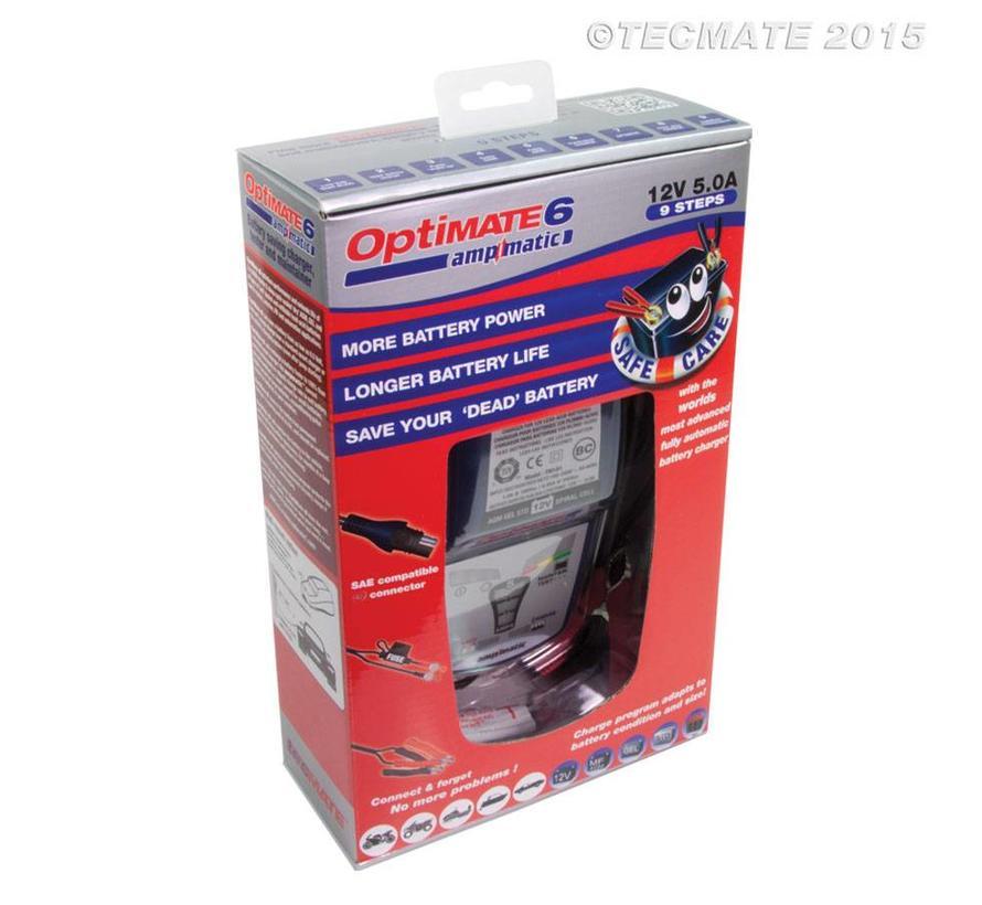 OptiMate 6 Ampmatic / 9-staps 12 V 5 A accubesparende lader, tester en onderhouder