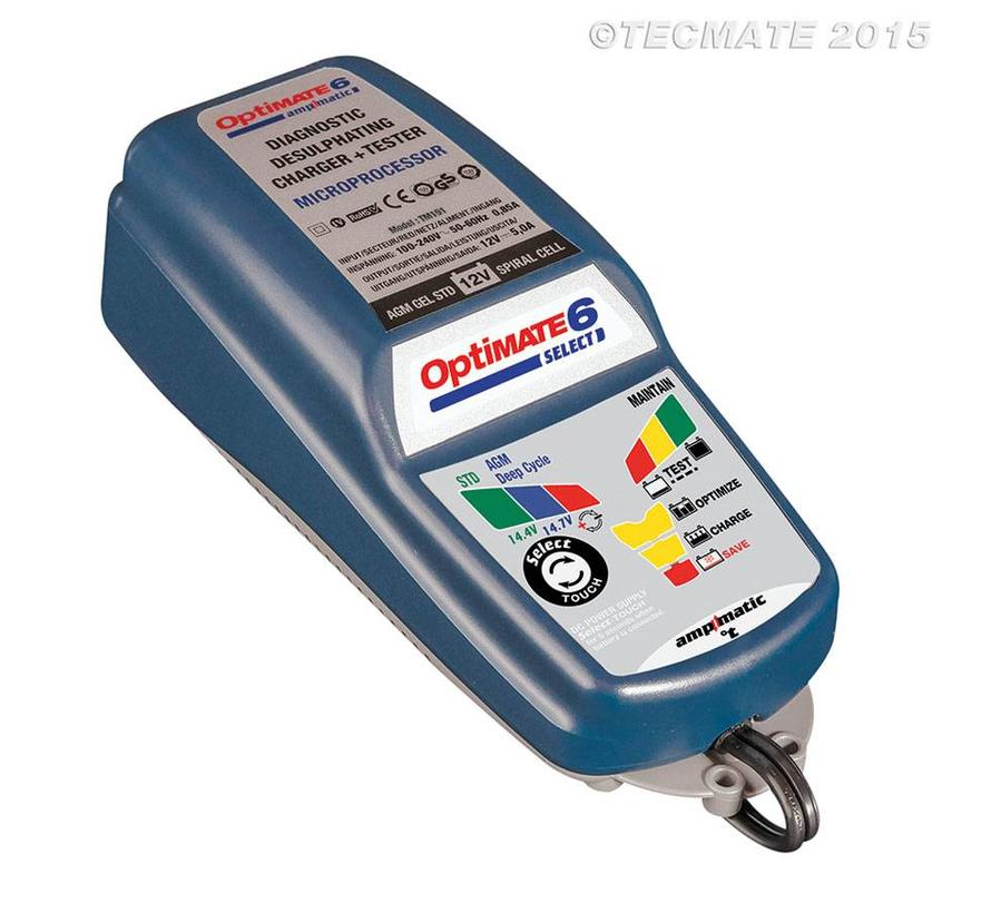 OptiMate 6 Select / 9-step battery charger for 12V starter and deep cycle batteries