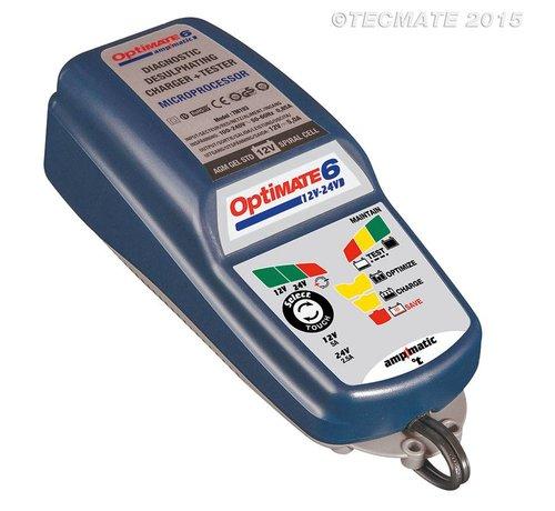 OptiMate OptiMate 6 12V-24V / 8-staps 5A 12V & 2.5A 24V accubesparende lader, tester en onderhouder