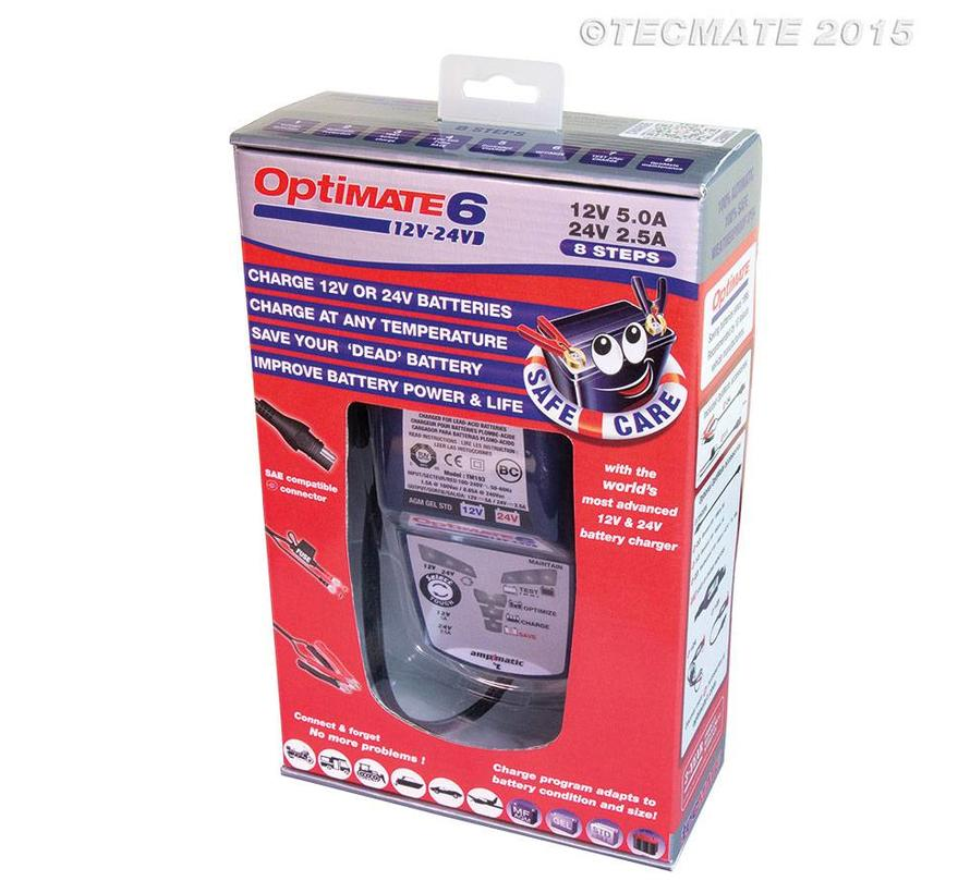 OptiMate 6 12V-24V / 8-staps 5A 12V & 2.5A 24V accubesparende lader, tester en onderhouder