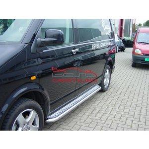 VW T5 Sidebars buis 60 mm met aluminium trede (set van 2 stuks)