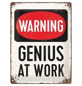 Nostalgic Art hangbord  - warning genius at work (large)