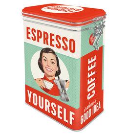 blikken bewaardoos met clip - espresso yourself