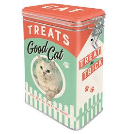blikken bewaardoos met clip - treats good cat