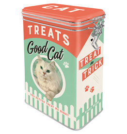 Nostalgic Art blikken doos met clip - treats good cat