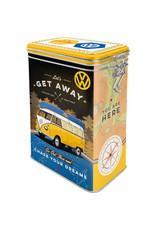 blikken bewaardoos met clip - VW let's get away