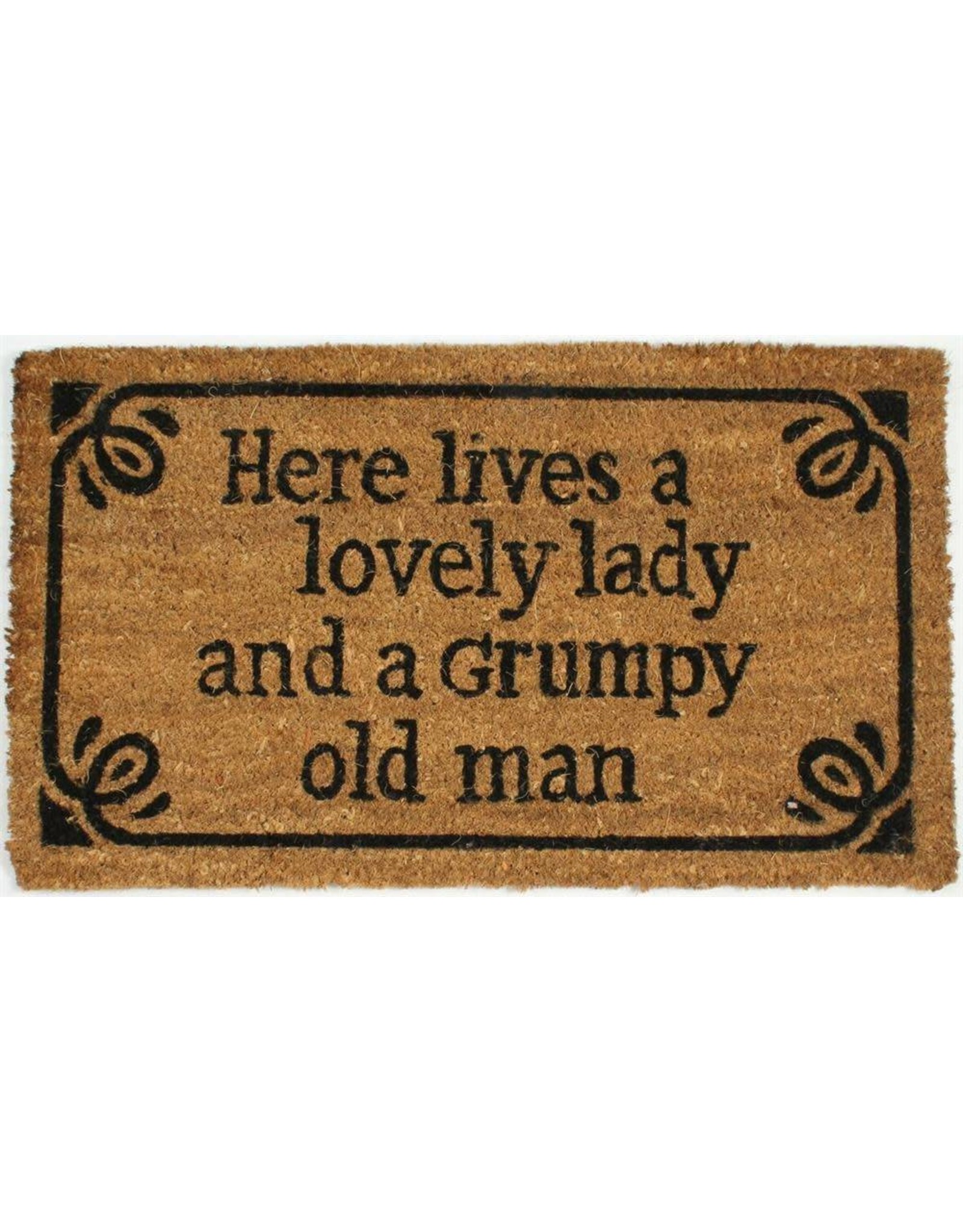 doormat with text 'here lives a lovely lady and a grumpy old man'