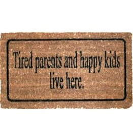 doormat - tired parents and happy kids live here