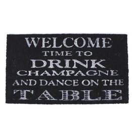 doormat - welcome, time to drink champagne