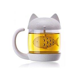 mug/tea infuser - cat/fish