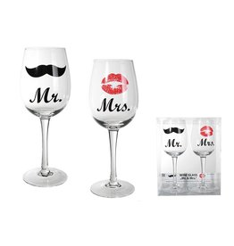 Out Of The Blue wine glasses set - Mr & Mrs