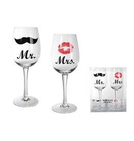 wijnglazen set - Mr & Mrs