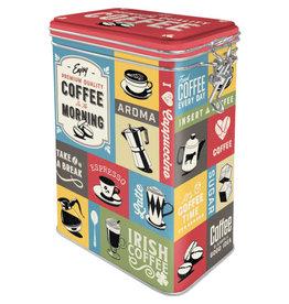 blikken doos met clip - coffee