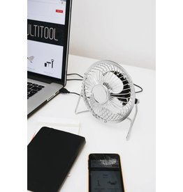 Kikkerland desk fan - USB (silver)