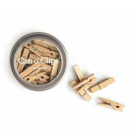 mini houten clips in blik