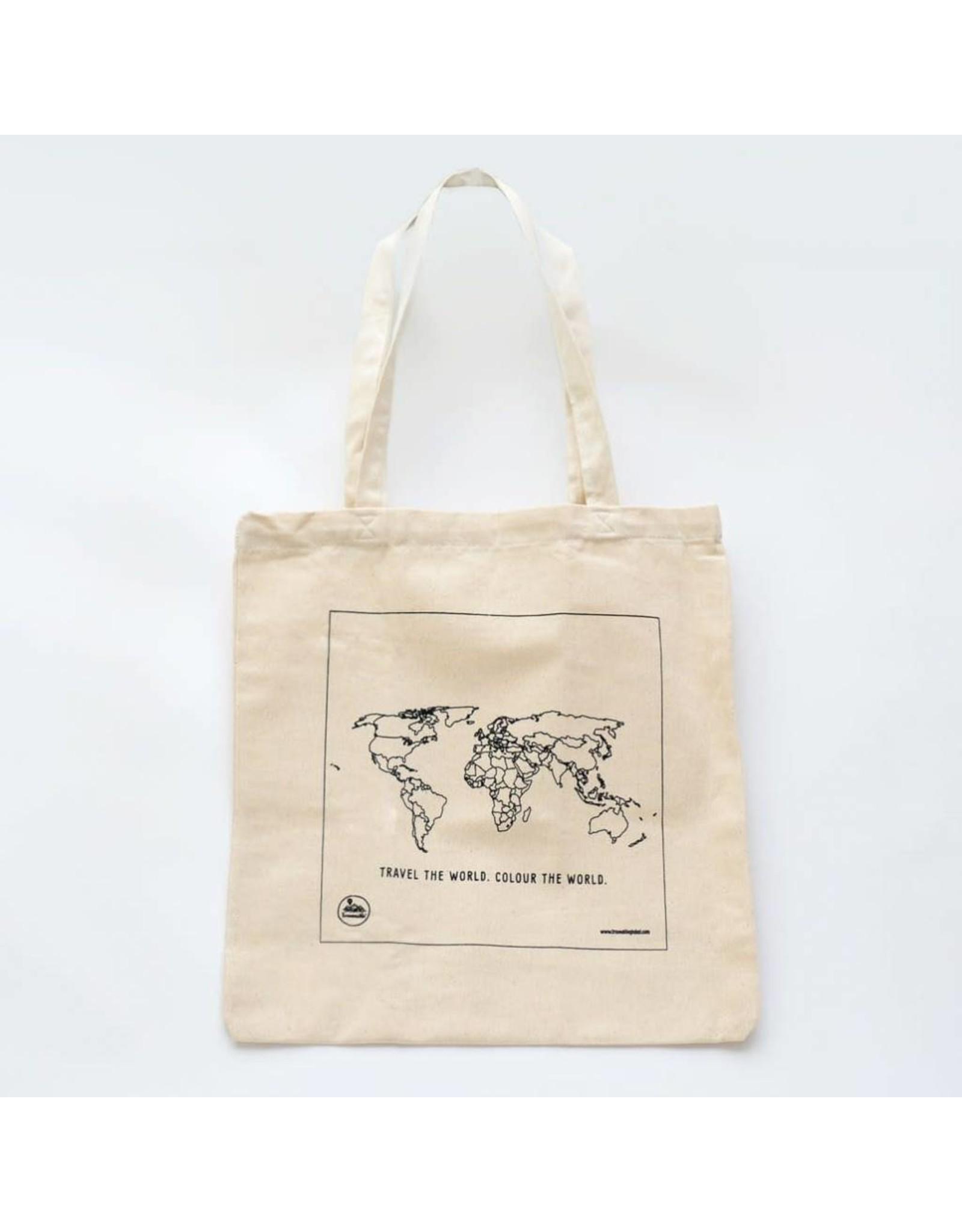 colour in tote bag - world