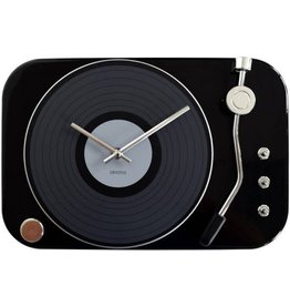 Invotis wall clock - record player (black)