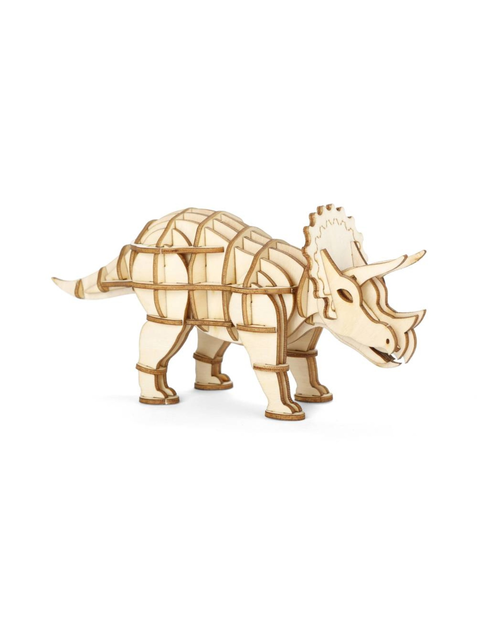 3D wooden puzzle in the shape of a triceratops