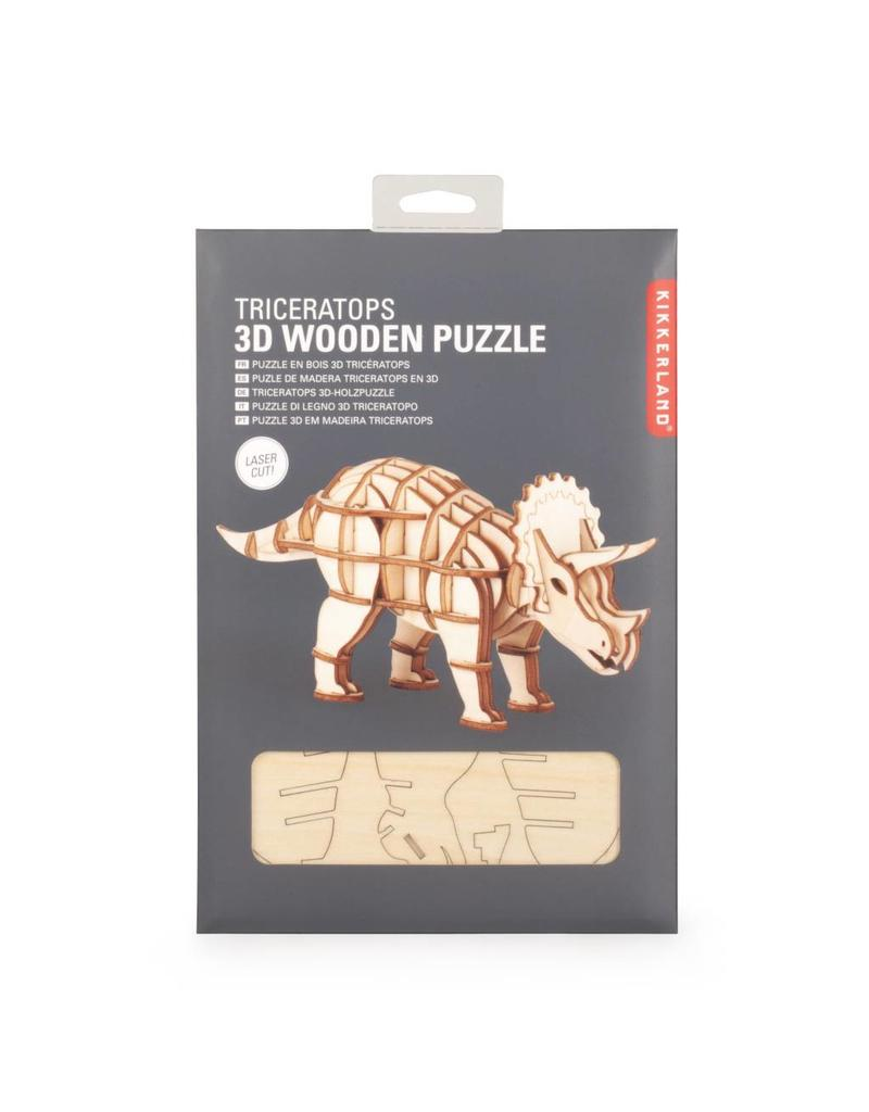 Kikkerland 3D houten puzzel  - triceratops