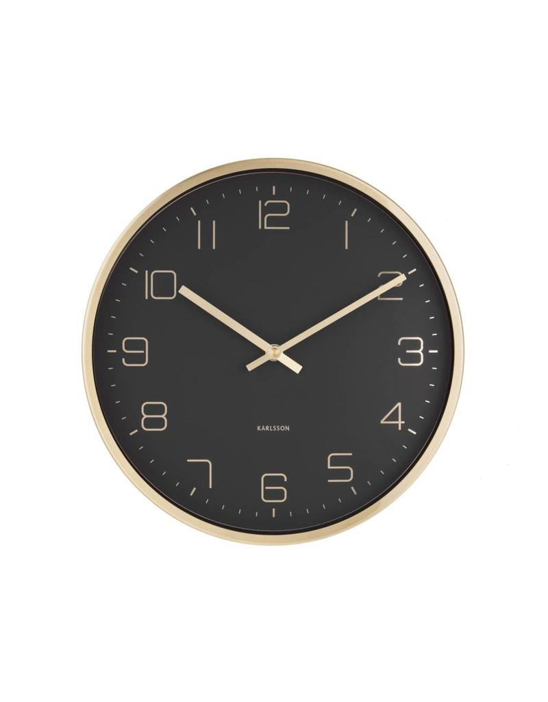 Karlsson Wandklok Mr White Numbers.Karlsson Wall Clock Elegance Black