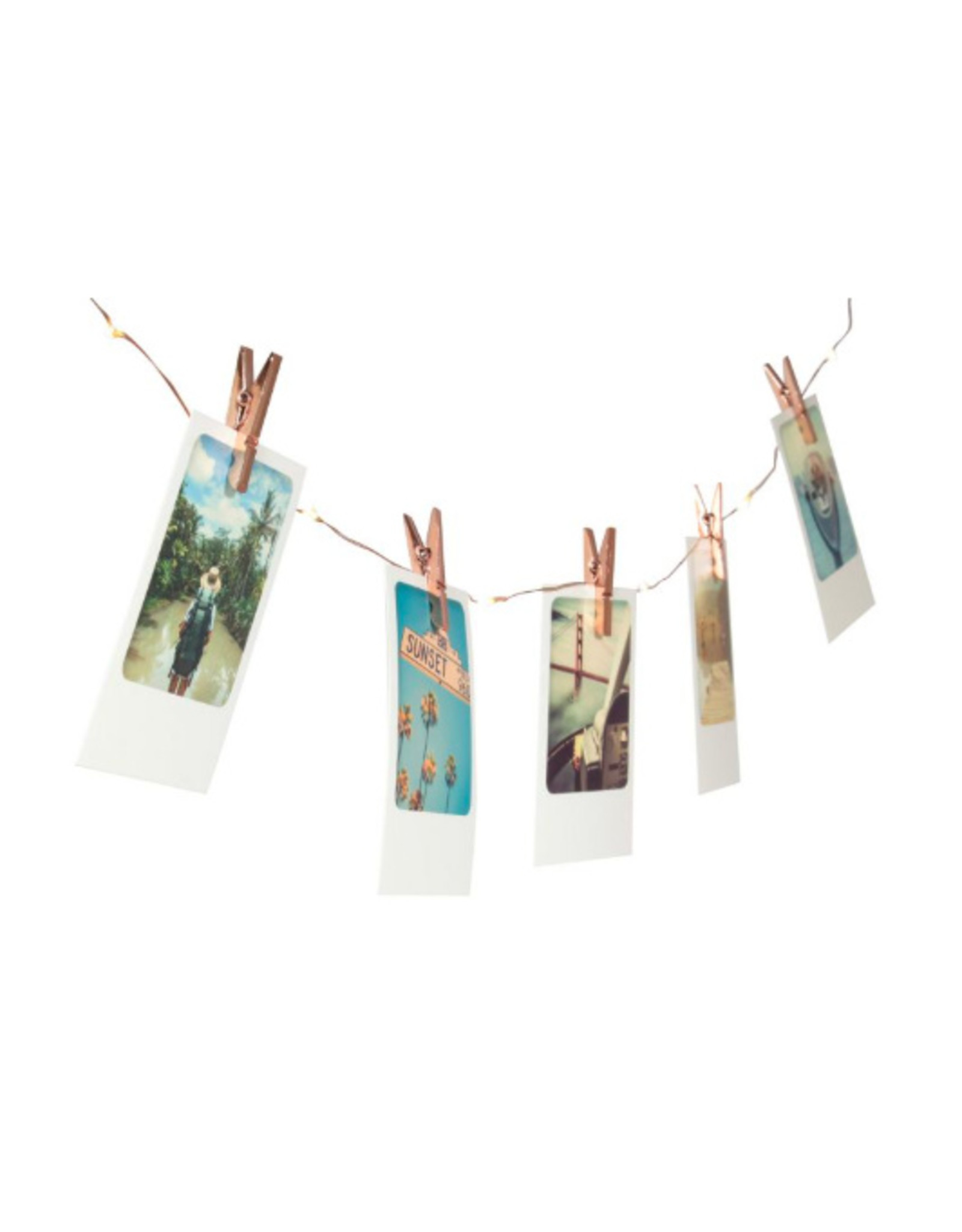 garland with lights and clips to hang photos/cards