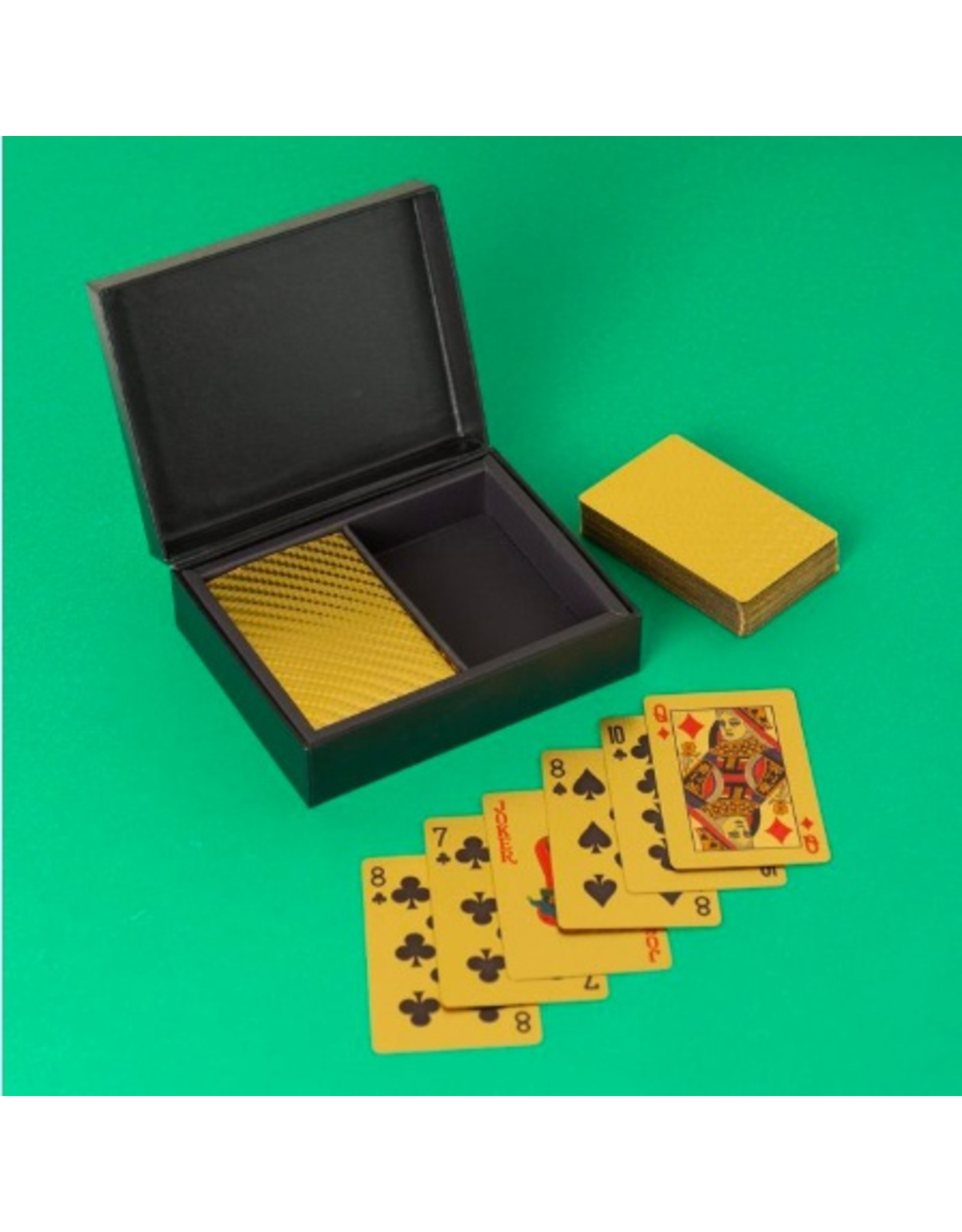 box with 2 packs of playing cards in gold