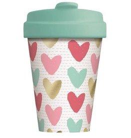 Chic Mic travel mug - happy hearts (gold)