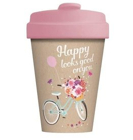 Chic Mic travel mug - happy looks good on you