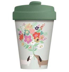 Chic Mic travel mug - lovely doggies (gold)