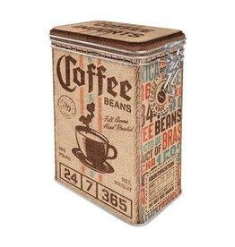 blikken doos met clip - coffee beans