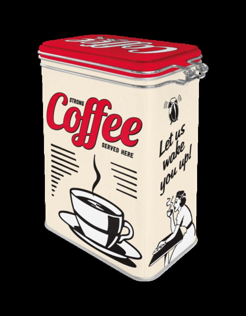 Nostalgic Art blikken doos met clip - coffee served here