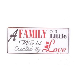 sign - a family is a little world created by love