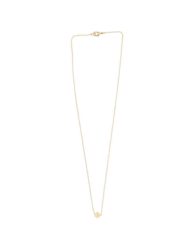 Timi necklace - hexagon with stone (gold)